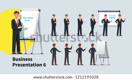 Handsome business teacher man giving presentation or lecture on a modern flipchart poses set. Businessman showing flipchart and text on projection screen. Flat vector illustration