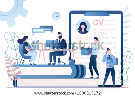 Handsome businessman boss or HR specialist having an interview with job applicant and male candidates waiting. Job interview, employment process, choosing a candidate concept. Vector illustration