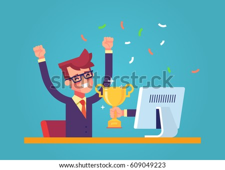 Handsome businessman got a gold award in the online contest from monitor. Modern male character. Flat vector.