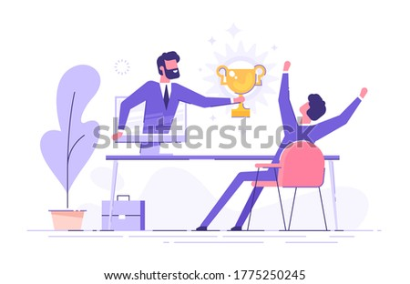 Handsome businessman holds out a golden cup from a monitor to a happy office worker. Award in the online contest. Modern vector illustration.