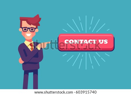 Handsome businessman in formal suit pointing by index finger to the button with the inscription contact us. Cartoon character. Stock vector illustration in flat design.
