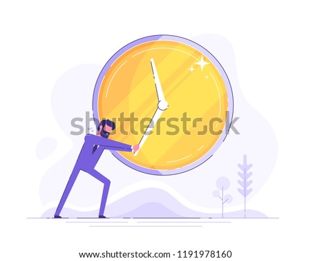 Handsome businessman in formal suit with beard is trying to stop time. Deadline and time management concept. Modern flat vector illustration.