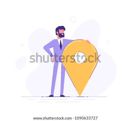 Handsome businessman is standing close to big map pointer. Our office location. Vector illustration.