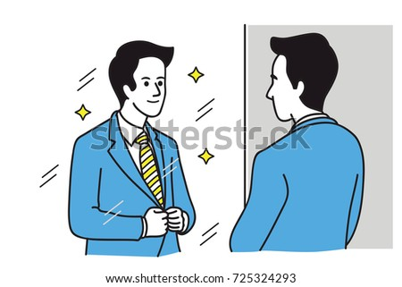 Handsome businessman looking at mirror, look at himself, adjusting his formalwear suit, prepare himself for working in start of a new day. Vector illustration, outline, linear line art, simple color.