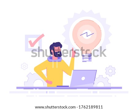 Handsome businessman working on his laptop holding up his index finger and creating a new idea.  Shiny light bulb. Business idea concept. Modern vector illustration.