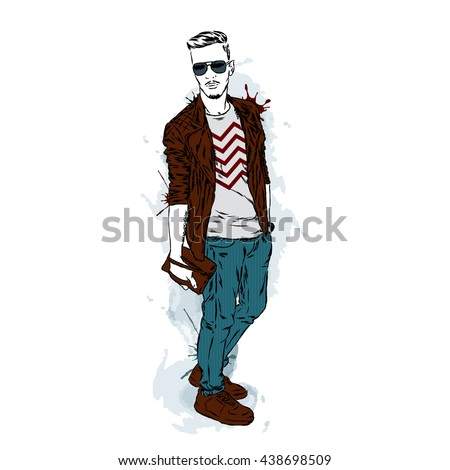 handsome guy in stylish clothes