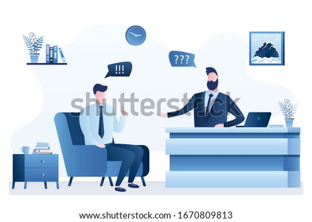Handsome journalist interviewing businessman in tv studio. Talk Show or video content for social media. Studio room interior. Male characters on tv workplace. Interview, media entertainment. Vector Foto d'archivio ©