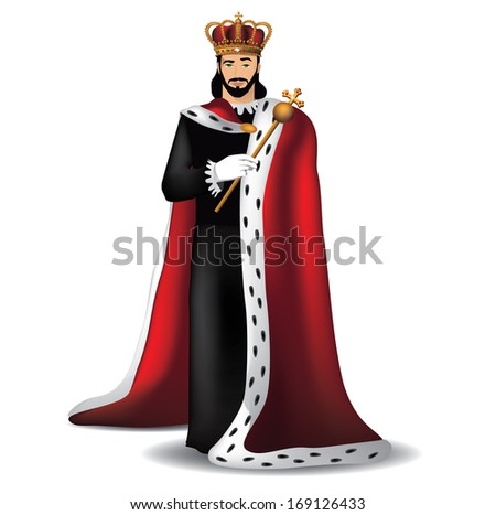 Handsome king. EPS 10 vector, grouped for easy editing. No open shapes or paths.
