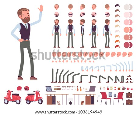 Handsome male office employee character creation set. Full length, different views, emotions, gestures. Business casual fashion. Build your own design. Cartoon flat-style infographic illustration