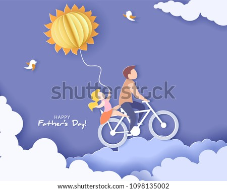 Handsome man and his daughter bicycling with air balloon sun shaped. Happy fathers day card. Paper cut style. Vector illustration