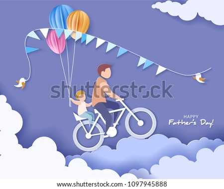 Handsome man and his son bicycling with air balloons. Happy fathers day card. Paper cut style. Vector illustration