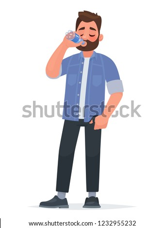 Handsome man drinking water from a bottle. Thirst. The concept of a healthy lifestyle. Vector illustration in cartoon style.
