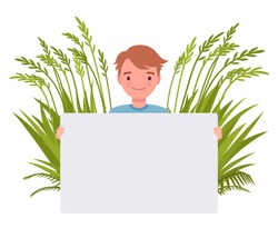 Handsome man holding empty poster on green grass background. Young smiling guy with white blank banner for copy space, eco garden decor for healthy lifestyle. Vector flat style cartoon illustration