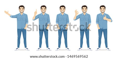 Handsome man in casual clothes standing in different poses set isolated vector illustration