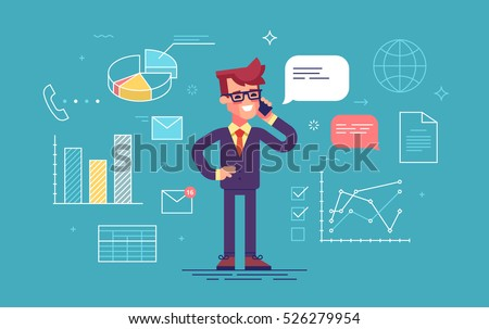 Handsome man in formal suit speaking on the phone with office process icons on background. Modern flat design. Thin lines. Vector illustration.