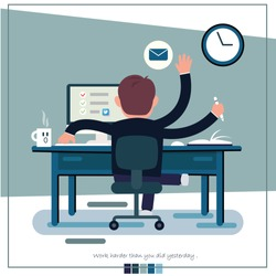 Handsome man is working at his laptop. Modern office interior with work process icons on the background.