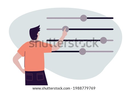 Handsome man moves different sliders. Guy adjusts various parameters. Concept of custom settings. Male user customize settings. System adjust, control panel. Back view. Trendy vector illustration Сток-фото ©