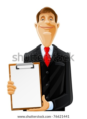 handsome man with clipboard vector illustration isolated on white background