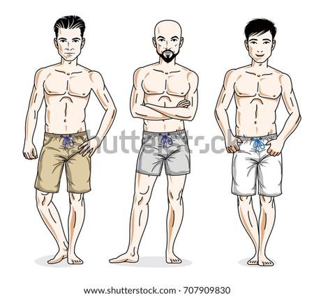 handsome men group standing