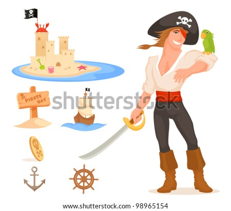 handsome pirate captain with parrot, sand castle overtaken by a crab, wooden sign, ship, coin, anchor and helm