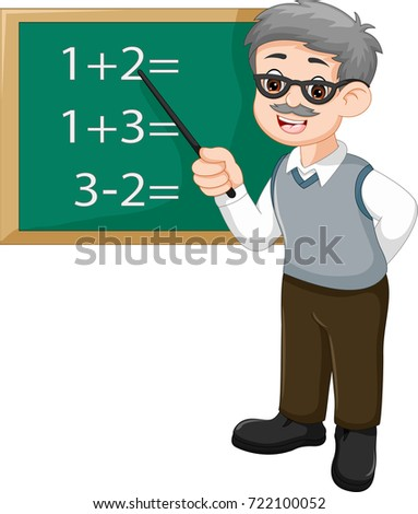 handsome professor teaches mathematics cartoon with smile and pointer