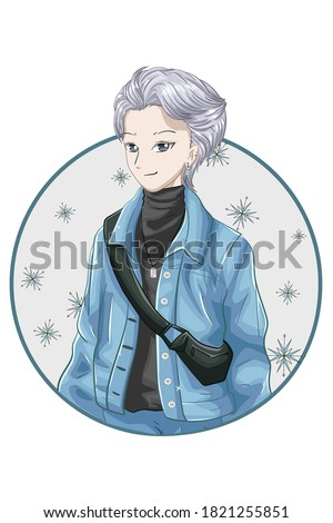handsome silver hair boy anime