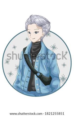 handsome silver hair boy anime