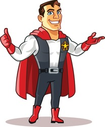 Handsome Superhero Cartoon Logo Mascot