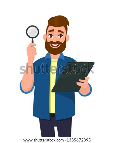 Handsome young bearded man showing/holding magnifying glass and clipboard/document/report in hand. Search, find, discovery, analyze, inspect, investigation concept illustration in cartoon. Stock foto ©