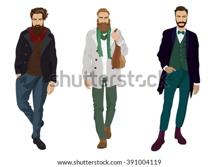 Handsome young man guys with hipster beards in fashion and casual clothes isolated.