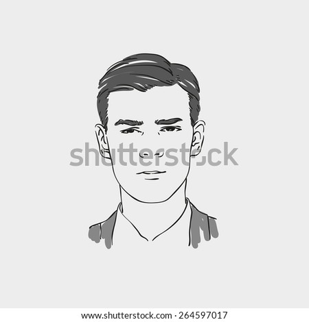 handsome young man vector hand