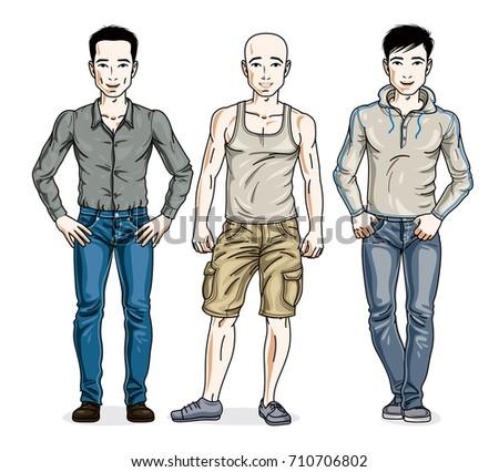 handsome young men standing in