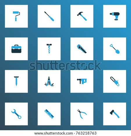 Handtools colorful icons set with round pliers, axe, tool and other spanner elements. Isolated vector illustration handtools icons.