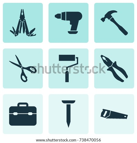 Handtools Icons Set. Collection Of Paint, Toolkit, Bolt And Other Elements. Also Includes Symbols Such As Sharp, Nail, Brush.