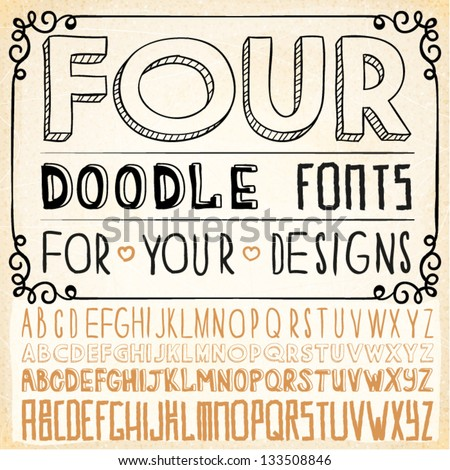 Handwriting Alphabets. Vector Hand Drawn Fonts
