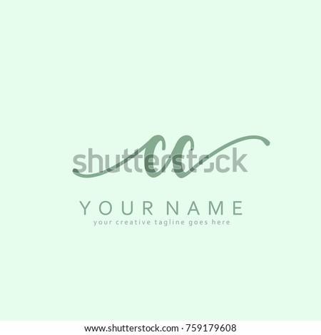 Handwriting C & C initial logo template vector
