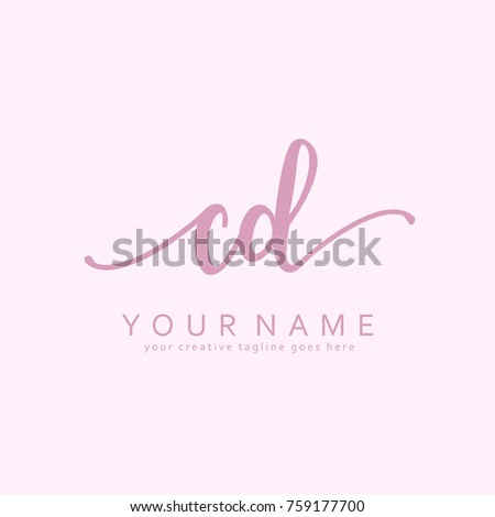 Handwriting C & D initial logo template vector