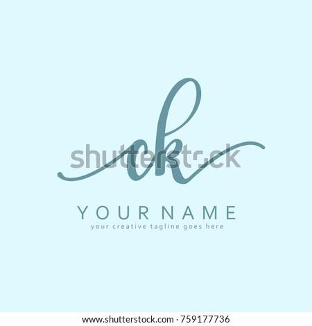 Handwriting C & K initial logo template vector Stok fotoğraf ©