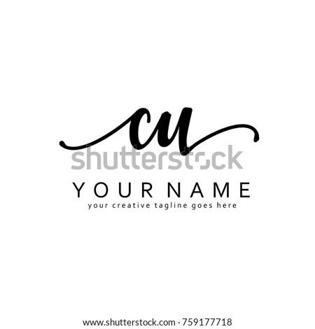Handwriting C & U initial logo template vector Foto stock ©