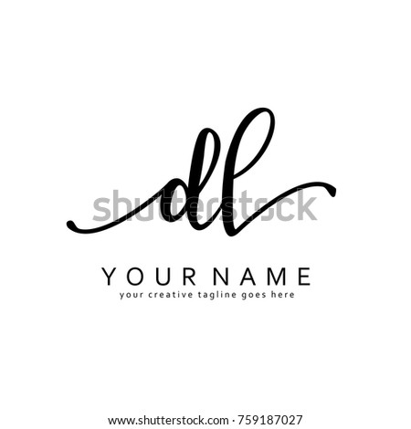 Handwriting D & L initial logo template vector Stock fotó ©