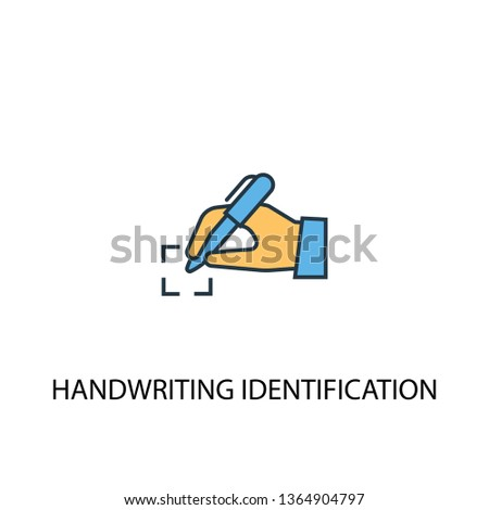 handwriting identification concept 2 colored line icon. Simple yellow and blue element illustration. handwriting identification concept outline symbol design