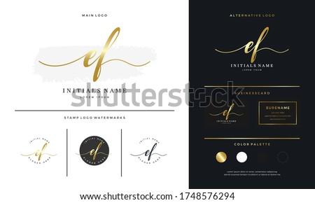 handwriting Initial of letter EF E F beauty logo on gold color design template. Feminine branding luxury template - Vector Photo stock ©