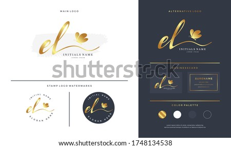 handwriting initial of letter EL E L logo design with butterfly. Feminine branding for beauty salon, massage, cosmetics or spa on gold color. Stock fotó ©