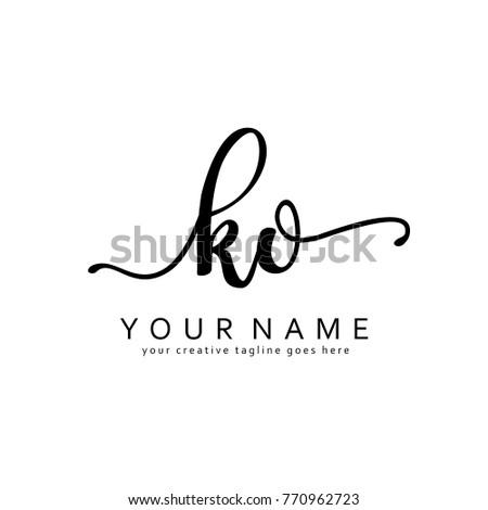 Handwriting K & O initial logo template vector