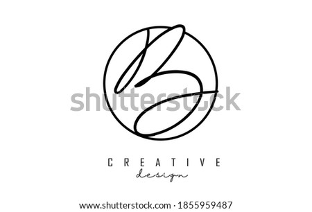Handwriting letters B logo design with simple circle vector illustration. Creative icon with letter B. Stock fotó ©