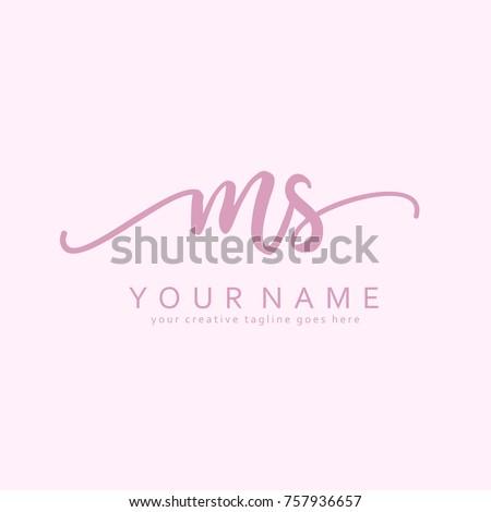 Handwriting M & S initial logo template vector Foto stock ©