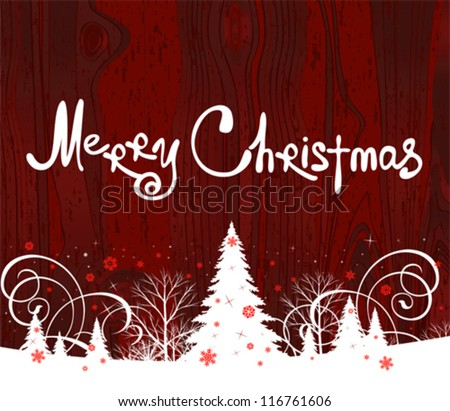 Handwriting. Merry Christmas. All elements and textures are individual objects. Vector illustration scale to any size.