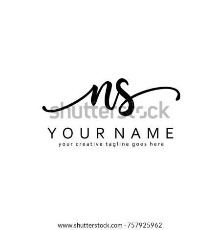handwriting n   s initial logo