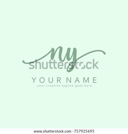 Handwriting N & Y initial logo template vector Stok fotoğraf ©