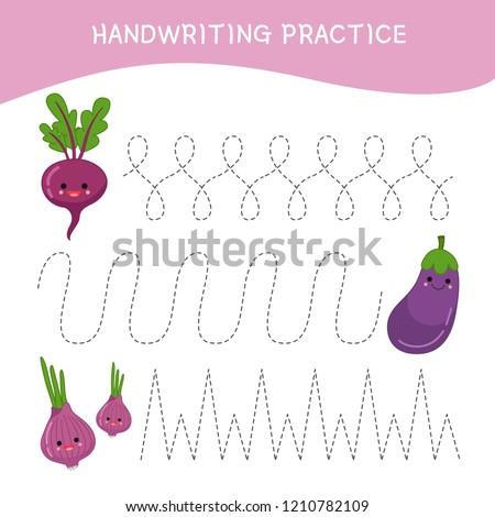 Handwriting practice sheet. Basic writing. Educational game for children.  Cartoon vegetables.